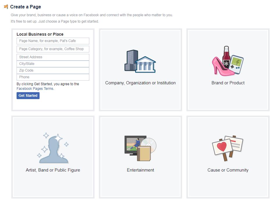 ליצור דף עסקי בפייסבוק, שלב 3