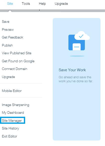 להיכנס לניהול האתר ב-Wix