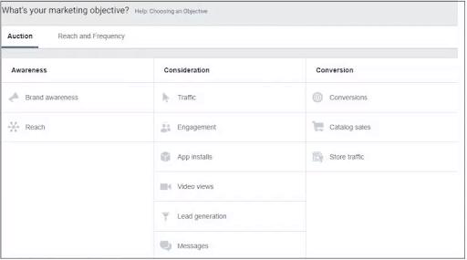 בחירת קמפיין בפייסבוק