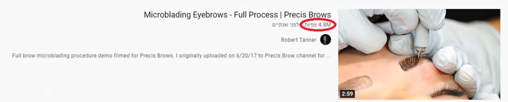 צפיות בערוץ יוטיוב